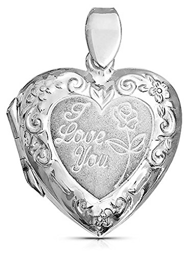 Vintage Style Embossed Word Love You Heart Shape Locket Pendant Necklace For Women For Wife 925 Sterling Silver