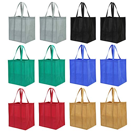 Lawei 12 pack Reusable Grocery Bags – Heavy Duty Shopping Bags with Handle, Grocery Tote Bags in 6 Color