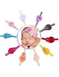 Changeshopping 10pcs Baby Girl Elastic Multicolor Flower Headband Rhinestone Hair Band