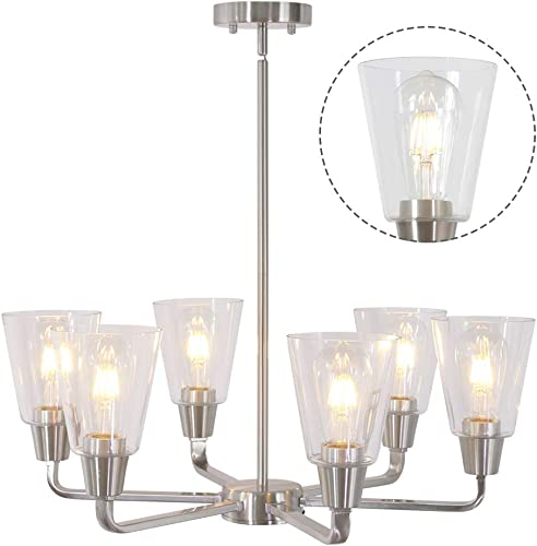 BONLICHT Contemporary 6 Light Large Chandelier Modern Pendant Lighting with Clear Glass Shade,Brushed Nickel Kitchen Island Dining room Light Fixtures Hanging Flush Mount Ceiling Light for Living room