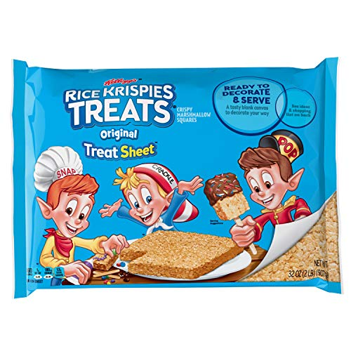 Kellogg's Rice Krispies Treats, Crispy Marshmallow Squares, Original, Fun Sheet, 32 oz Sheet (Custom Chocolate Wrapped)