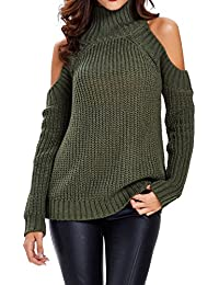 Choies Women Black Turtleneck Cut Out Cold Shoulder Ribbed Knit Slim Pullover Sweater