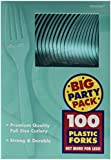 Amscan Big Party Pack 100 Count Mid Weight Plastic Forks, Robbins Egg Blue