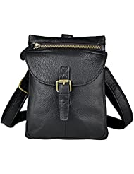 Leaokuu Men Leather Fashion Casual Crossbody Messenger Bag Designer Phone Cigarette Case Fanny Waist Belt Pack...