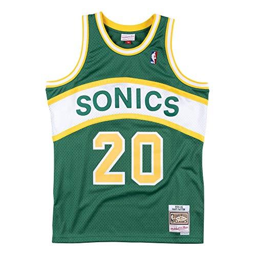 Mitchell & Ness Seattle Supersonics Gary Payton Throwback Road Swingman Jersey Green (Small)
