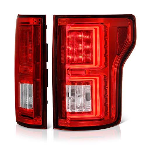 VIPMOTOZ Premium OLED Tube Red Lens LED Tail Light Lamp Assembly For 2018-2019 Ford F-150 Pickup Truck, Driver & Passenger Side
