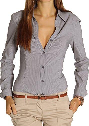 Chemise femme Stretch t25z bestyledberlin Marron blouse pour RfxdRwH