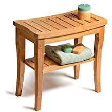Bamboo Shower Bench with Storage Shelf, Bath Seat Bench Stool Perfect for Indoor or Outdoor Use. By Bambüsi