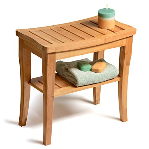 Bambüsi Bamboo Shower Bench with Storage Shelf, Bath Seat Bench Stool Perfect for Indoor or Outdoor (Brown Seating Teak)