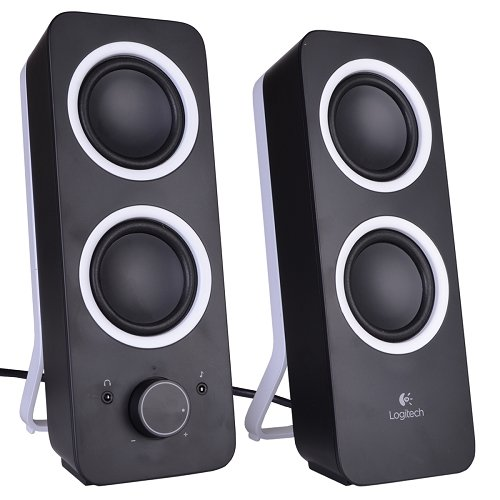 Logitech Z200 2-Piece 2 Channel Speaker System Headphone & Aux Jacks Black Consumer Electronics