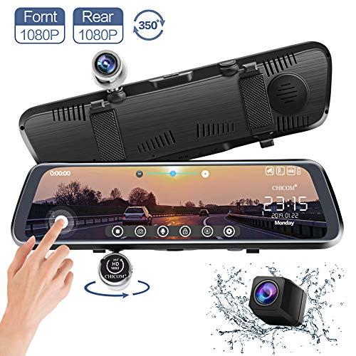 CHICOM Mirror Dash Cam, V33 10 Inch Full Touch Screen 350 Degrees 1080P Rotating...