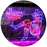 AdvpPro 2C Cowgirl Welcome to Las Vegas Beer Bar Display Dual Color LED Neon Sign Red & Blue 12'' x 8.5'' st6s32-i2737-rb