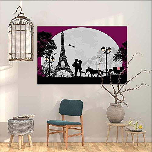 - Oncegod Art Original Oil Painting Sticker Romantic Horse Carriage Couple Hugging in Front of The Eiffel Tower and Full Moon Contemporary Abstract Art Fuchsia Grey Black W23 xL19