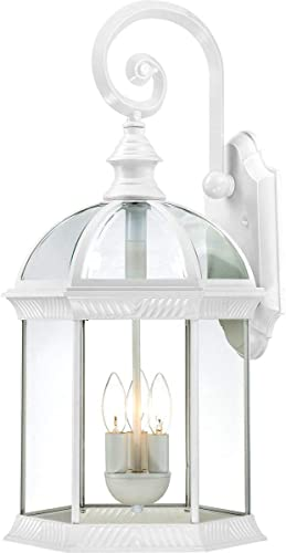 Nuvo Lighting 60/4967 Boxwood Three Light Large Wall Lantern/Arm Down 60 Watt Type B Max. Clear Beveled Glass White Outdoor Fixture