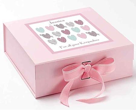 Bebé niña caja de recuerdos, Memory Box, pastel corazones caja de recuerdos, cajas de recuerdo, bautizo, nuevo bebé, 1st cumpleaños, cumpleaños de niña, niños ...