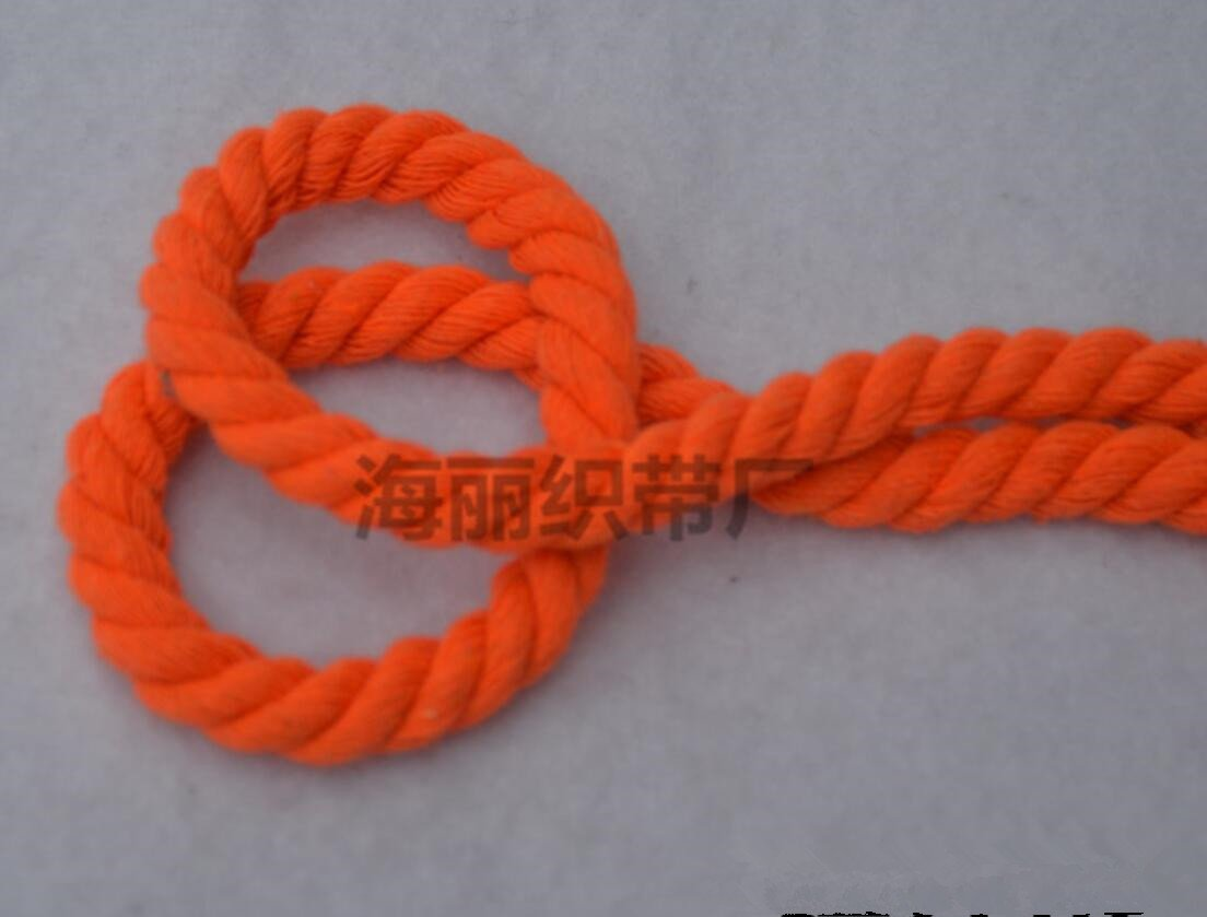 WellieSTR (100Metters/109yards) ORANGE 3 Shares Twisted Cotton Cords 8mm DIY Craft Decoration Rope Cotton Cord for Bag Drawstring Belt by WellieSTR (Image #1)
