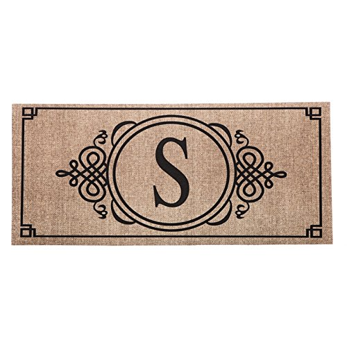 1 X Sassafras Decorative Insert Mat, 10x22 Inches, Burlap Monogram S