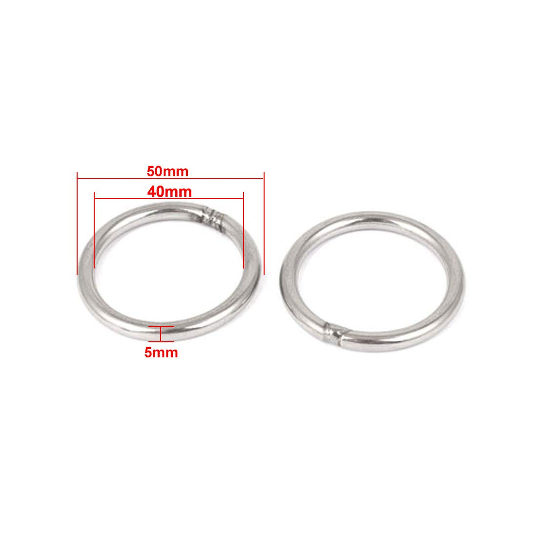 M5 x 40mm 201 Stainless Steel Strapping Welded Round O Rings 2 Pcs