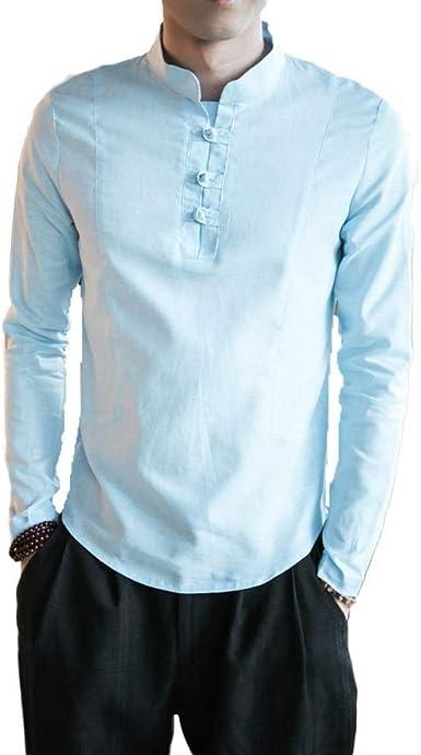 Camisa De Hombre Botón De Estilo Chino Top Algodón Retro Ocasional ...