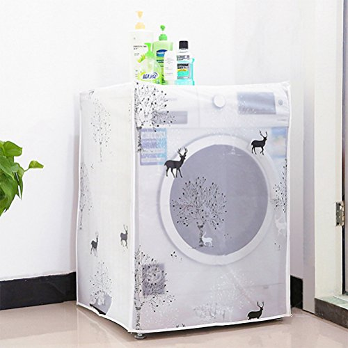 WINOMO Waterproof Washing Machine Cover Automatic Roller Drum Household Washer Cover (Dear Patterns)