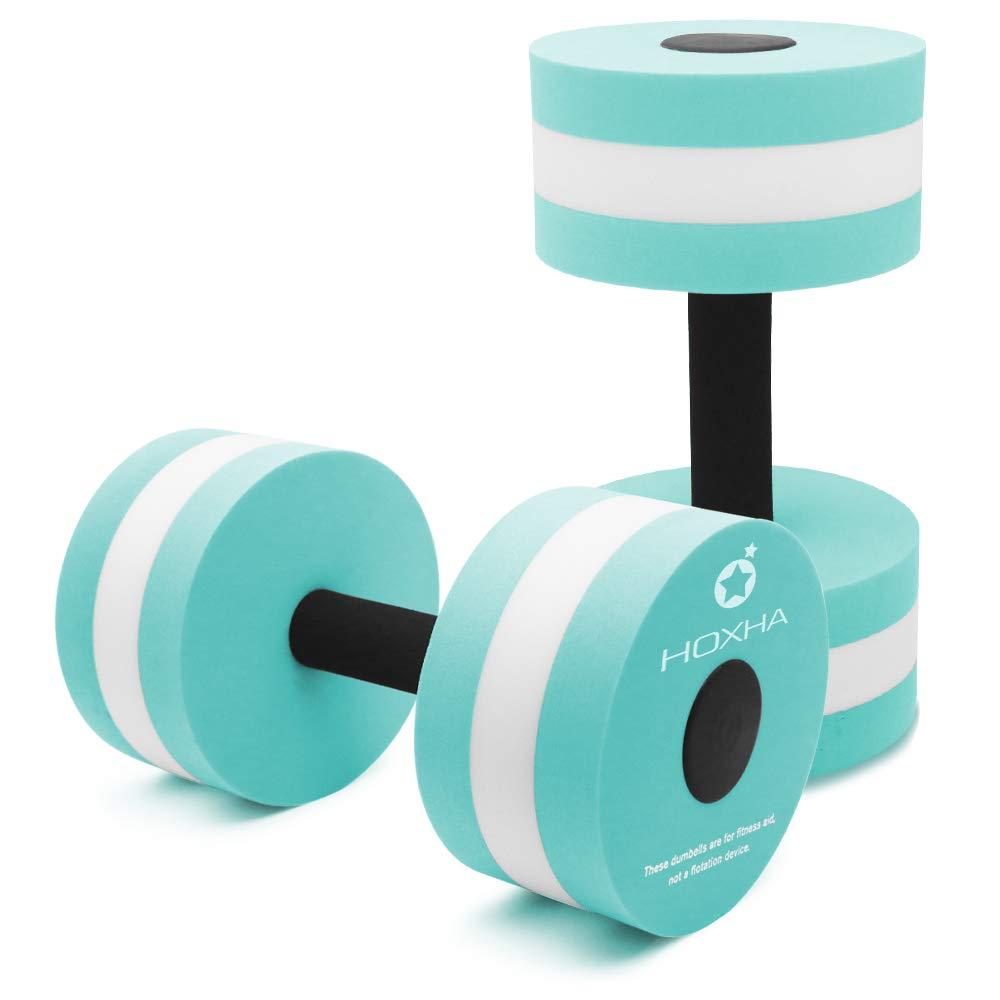 HOXHA Water Dumbbells, Aquatic Exercise Dumbell Set of 2 Water Aerobic Exercise Foam Dumbbells Pool Resistance Water…
