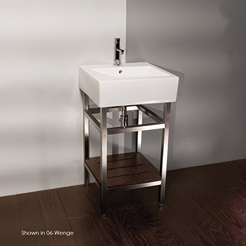 Free-standing console stand made of brushed stainless steel for lavatory 5062, with clear tempered class shelf and towel bar, 19 1/4