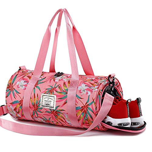 HUTU Sport Duffle Travel Bags Gym Bag for Women with Shoe Compartment and Wet Compartment Floral Pink Gym ()