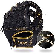 Franklin Sports Conjunto de luvas e bola de tebol – Luva de tebol Meshtek e espuma de beisebol – 24 cm