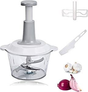 Food Chopper - 3 in 1 Manual Speedy Hand Press Food Chopper - Giptime Large 8.5-Cup Vegetable Dicer Mincer with Egg Mixer - Ideal for Onion, Baby Food, Seasoning, Garlic, Fruit, Nuts and Meat Chopping