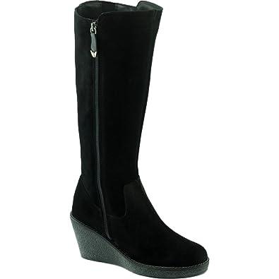 Angelina® HIJIDA Bottes Compensée Semelle Façon Crêpe Chaussures Femmes  Boots Fermeture Zip Marque Cuir Velours 78468162a308