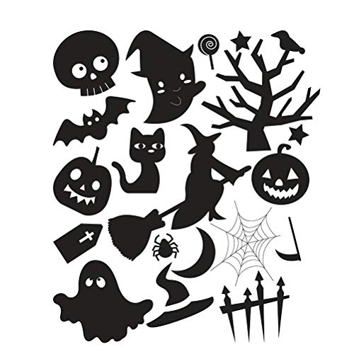 VORCOOL Halloween Witch Ghost Wall Stickers Witch Window Stickers for Home Decor Hallween Decoration ()