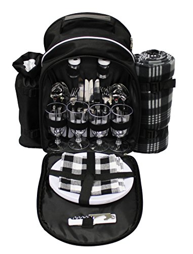 Earthwise 4 Person Picnic Backpack Basket with Insulated - Hot Cold Compartment, 4 Person Flatware , Detachable Bottle/Wine Holder, Waterproof Fleece Blanket, Plates and Cutlery Set