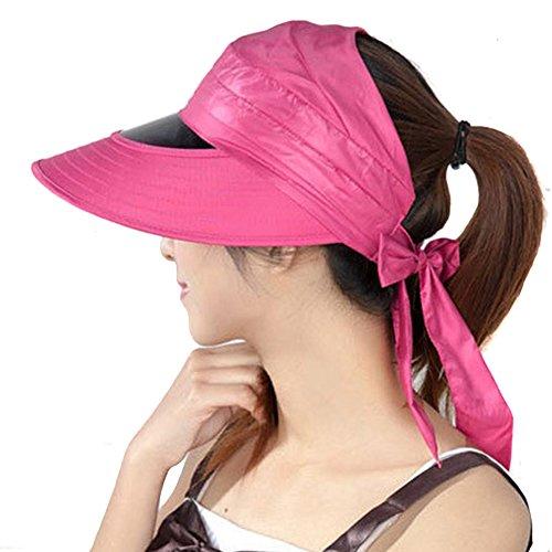 LOCOMO Transparent Plastic Sunglasses Brim Visor Wide Brim Hat Cap - Pink Transparent Visor