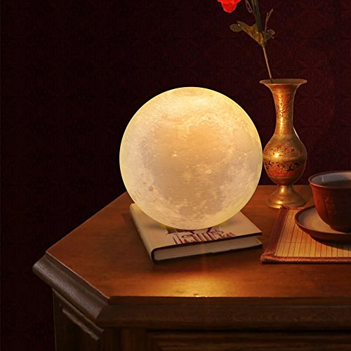 AIFONE Night Light PLDM 3D Printing Moon Lamp, Warm and Cool White Dimmable Touch Control Brightness with USB Charging,Home Decorative Lights by AIFONE (Image #4)