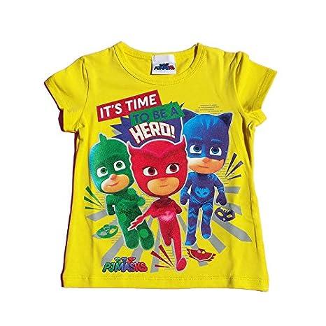 Pj Mask Maglietta Superpigiamini T Shirt Gialla Bambina Stampa
