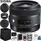 Sigma 30mm f/1.4 DC HSM Art Lens for Sony - 6PC Accessory Bundle Includes 3PC Filter Kit (UV, CPL, FLD) + 5PC Cleaning Kit + Memory Card Wallet + Lens Cap Keeper + MORE