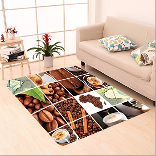 Nalahome Custom carpet n Collage Made Wtih Coffee Beans and Mugs Cinnamon Maps Continent Macro Photos Brown Green White area rugs for Living Dining Room Bedroom Hallway Office Carpet (5' X 7') - Bamboo Shag Coffee Bean