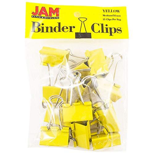 JAM PAPER Colorful Binder Clips - Medium - 1 1/4 Inch (32 mm) - Yellow Binderclips - 15/Pack (Yellow Binder Paper)