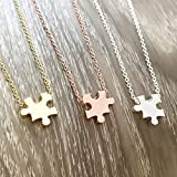 Jigsaw Puzzle Pendant Necklace Rose Gold Silver Gold