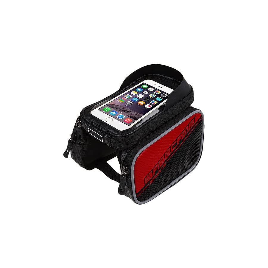 Granvela Cycling Bike Front Frame Bag Tube Pannier Double Pouch Bicycle Front Tube Cell Phone Bag with Touch Screen Phone Case