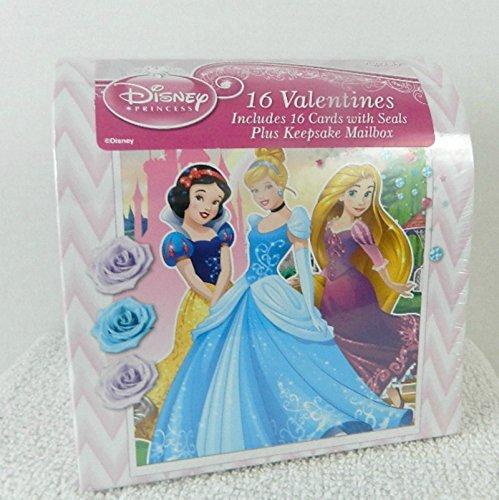 Disney Princess Valentine 16 Cards with Heart Seals and Keepsake Mailbox