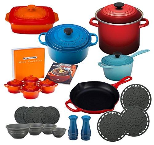Le Creuset 27 Piece Complete Cookware Set (Dutch Oven, Saucepan, Skillet, Stockpot, Casserole Dish, Salt and Pepper Shakers, Trivets, Coasters, Prep Bowls, and Mini Cocottes) - Multi-Color