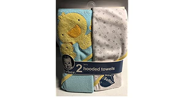 Amazon.com : Gerber Ducks & Stars - Set of 2 - Baby Boy Or Girl Hooded Bath Towels : Baby