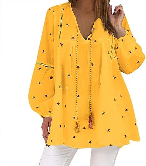 beautyjourney Camiseta con Cuello de Pico y Estampado de Estrellas para Mujer Camisa de borlas de Manga Larga Vintage Top Blusa de túnica de Playa Holgada Blusas: Amazon.es: Ropa y accesorios