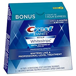 Crest 3D White Professional Effects Whitestrips 20 Treatments + Crest 3D White 1 Hour Express Whitestrips 2 Treatments – Teeth Whitening Kit