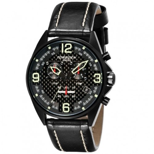 Torgoen Men's Aviator Analog Quartz Chronograph Watch T18102 With Leather Strap