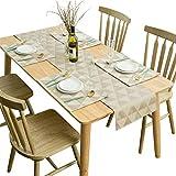 SUNLOVO Placemats Table Runner 5 pcs Set, Geometric Jacquard Triple Layer Heat Resistant Washable Table Mats Set (1pc Table Runner+4pcs Placemats, Tan, 14'x90' + 18x12 x4)