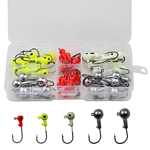 LikeFish 45pcs/box Fishing Jig Heads Fish Head Hooks Kit Ice Fishing Jigs Fishing Lead Lures Bait - Lead Jig