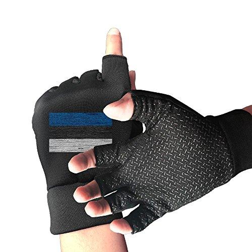 Estonian Garden - CITTS Wooden Texture Estonian Flag Unisex Womens Mens Outdoor Light Anti-skid Half-finger Gloves