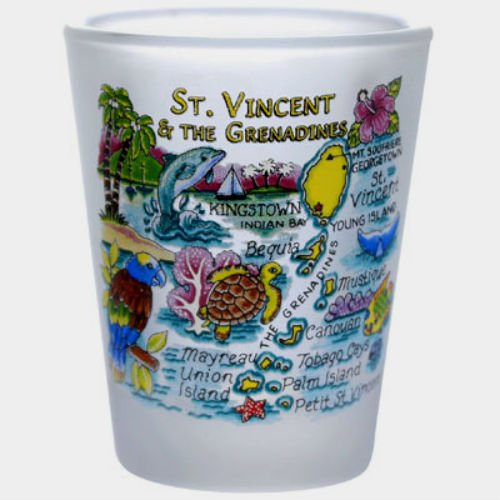 St.Vincent & The Grenadines Map Caribbean Frosted Shot - Style St Vincent